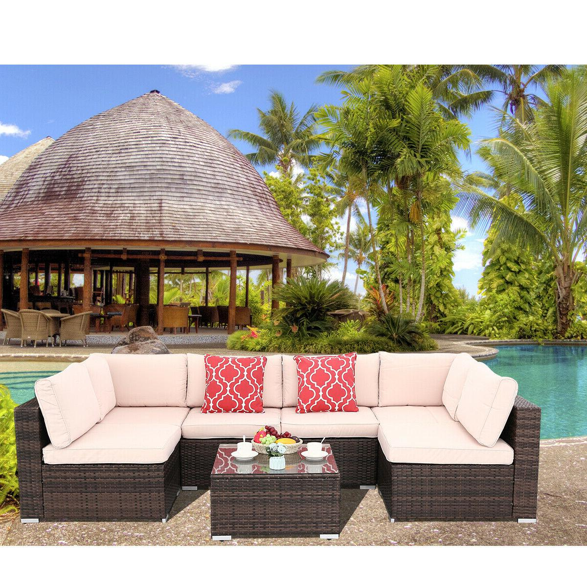7pcs outdoor patio sofa set pe rattan