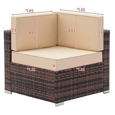7PCS Patio Furniture Wicker /w Sofa US SHIP