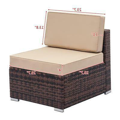 7PCS Furniture Couch Wicker Rattan /w Cushions Sofa Sectional SHIP