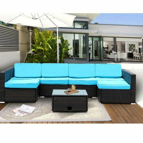 7 Patio Rattan Wicker Sofa Set Sectional Couch Furniture