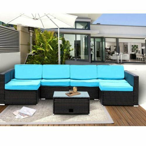 7 pieces patio sectional furniture set pe