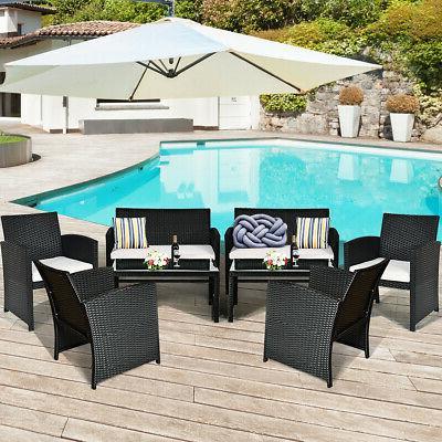8 Pieces Patio Rattan Furniture Conversation Set Cushioned S