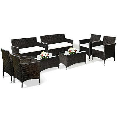 8 PCS Patio Furniture Set Coffee Table Cushioned Sofa Brown