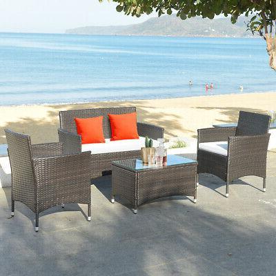 8 PCS Set Coffee Table Cushioned Sofa Brown