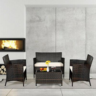 8-Piece Rattan Chair Table