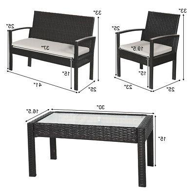8 Pieces Table Chair Set Cushioned Garden Yard Furniture