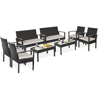 8 Patio Table Chair Set Cushioned Seat Yard Furniture