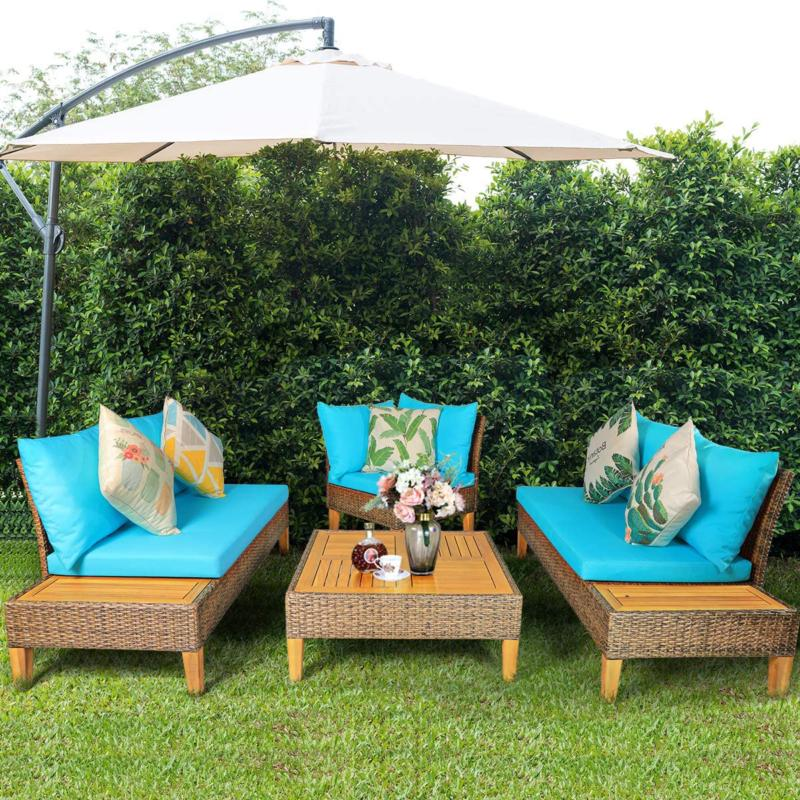 Tangkula Acacia Patio Furniture Wicker