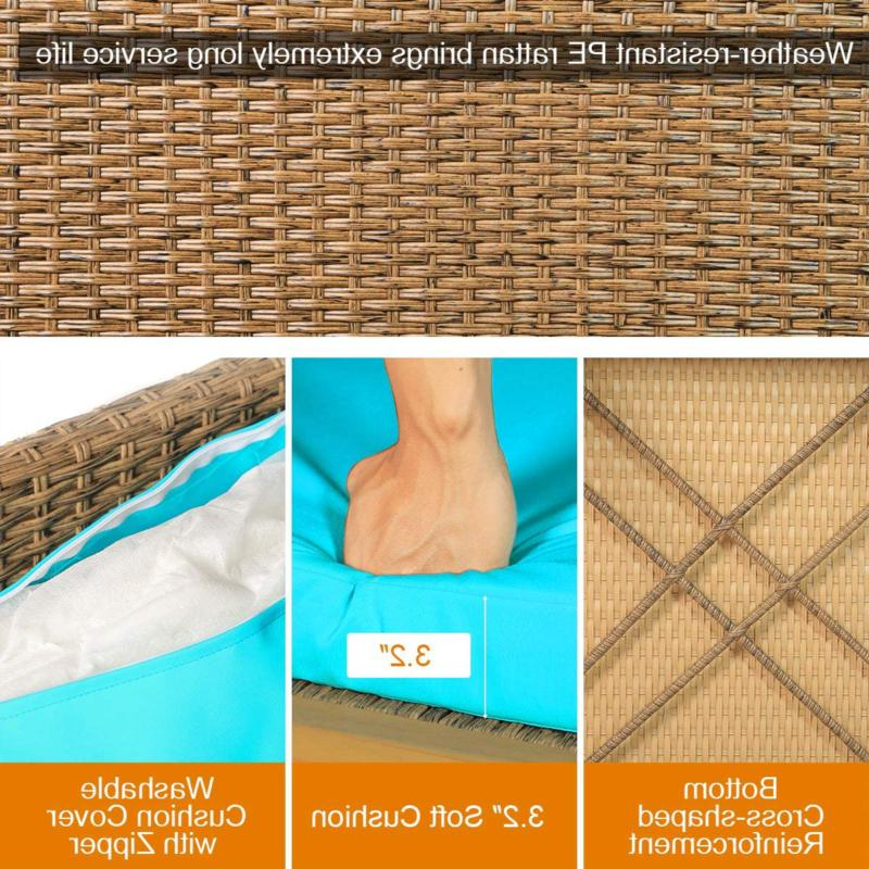 Tangkula Acacia Patio Wicker Sectional Sofa Set