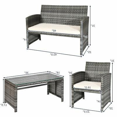 8 Patio Rattan Furniture Tabletop Cushioned