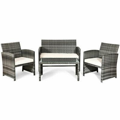8 Pieces Patio Furniture Conversation Glass Tabletop Cushioned
