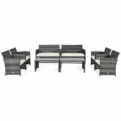 8 pieces patio rattan furniture set conversation