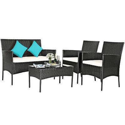 8PCS Set Cushioned Coffee Table Backyard