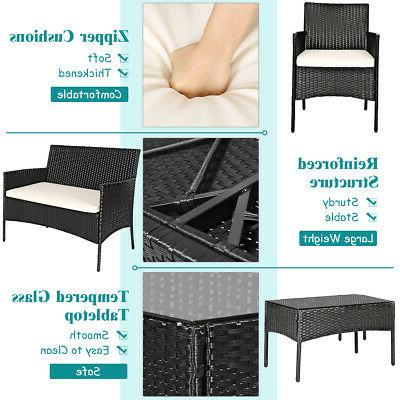 8PCS Patio Rattan Furniture Set Table