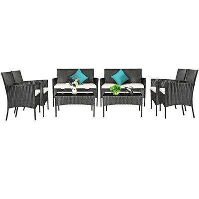 8pcs patio rattan furniture set cushioned sofa