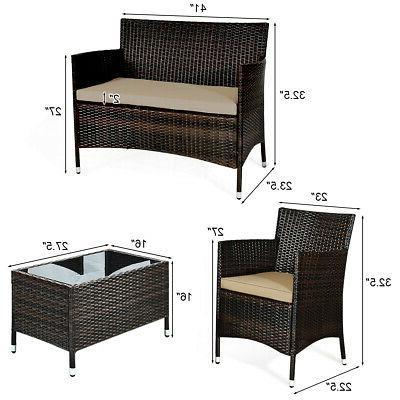 8PCS Rattan Furniture Set Coffee