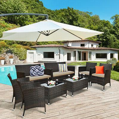 8PCS Rattan Patio Set Cushioned Sofa Outdoor Coffee Table Garden