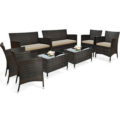 8pcs rattan patio furniture set cushioned sofa