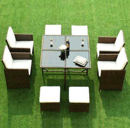 9 Piece Patio Dining Set Cushioned Furniture