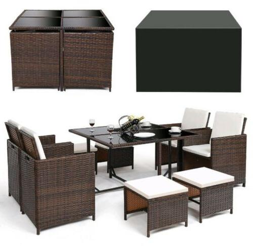 9 Piece Patio Dining Cushioned Furniture