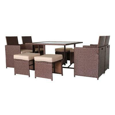 9PCS Patio Furniture Sofa Set Dining Garden