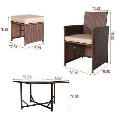 9PCS Wicker Furniture Sofa Set Dining Table Garden