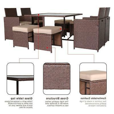 9PCS Wicker Rattan Patio Furniture Dining