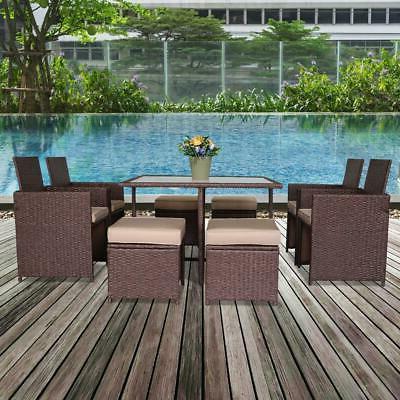 9pcs wicker rattan patio furniture sofa set