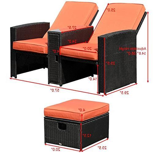 Tangkula Adjustable Backrest Rattan Ottoman Furniture Garden Conversation Sofa Furniture Set w/Cushions Rest
