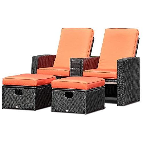 Tangkula PCS Adjustable Backrest Ottoman Outdoor Garden Furniture Set Rest