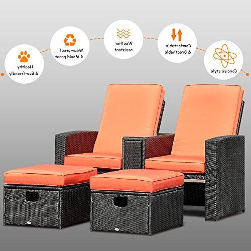 Tangkula 3 Adjustable Backrest Rattan Ottoman Garden Conversation Furniture Set Rest Stool