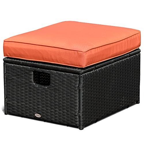 Tangkula 3 PCS Adjustable Backrest Rattan Ottoman Furniture Garden Lawn Conversation Furniture