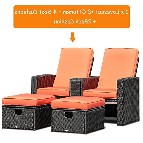 Tangkula 3 Adjustable Backrest Ottoman Furniture Garden Furniture Set Rest