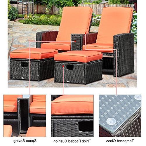 Tangkula 3 PCS Adjustable Backrest Rattan Ottoman Garden Lawn Furniture Set Rest Stool