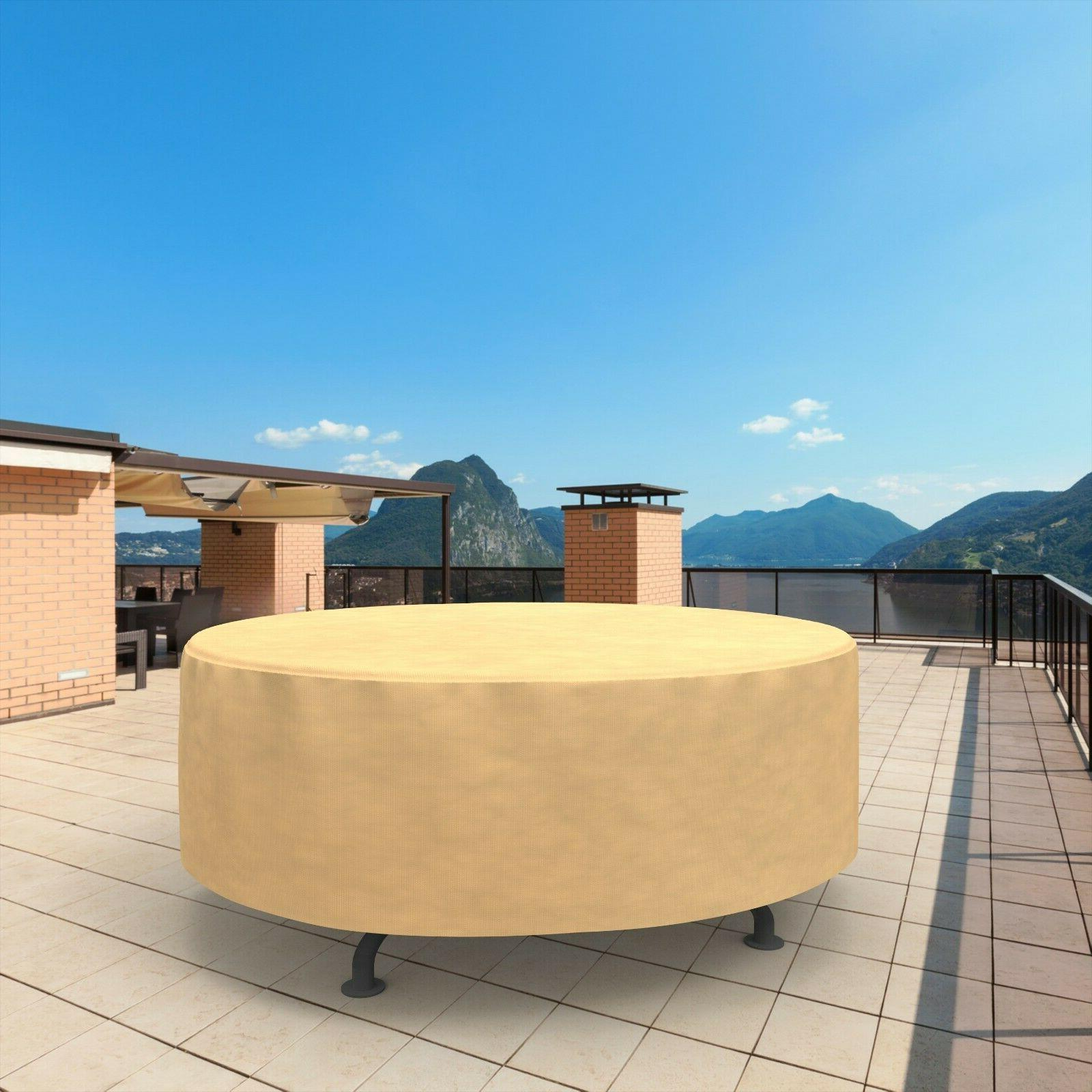 Patio Round Outdoor Garden Furniture Rain Protection Tan