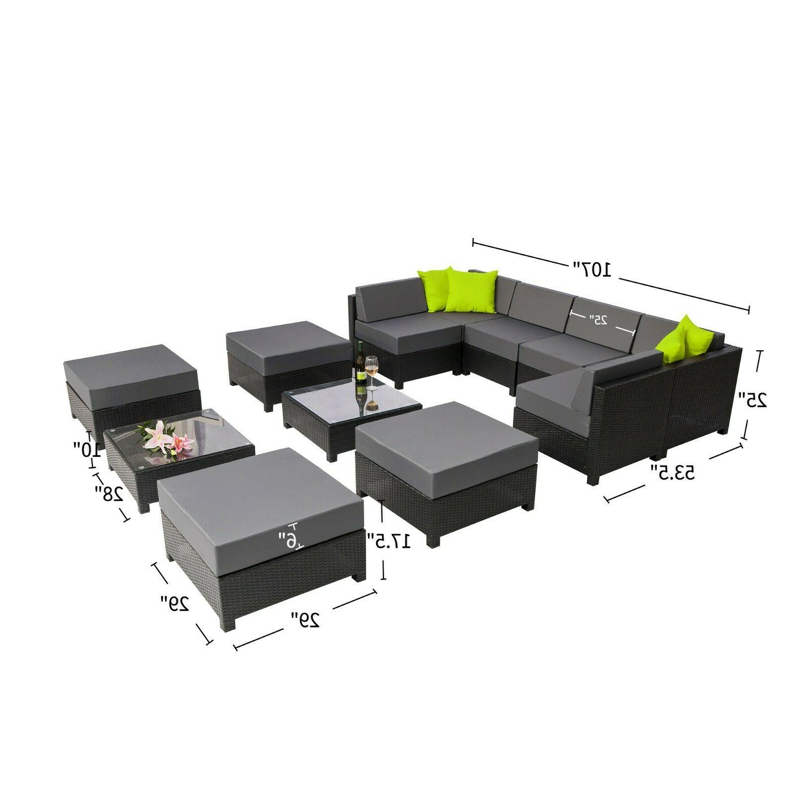 Mcombo Aluminum Patio Black Wicker Furniture Sectional Sofa