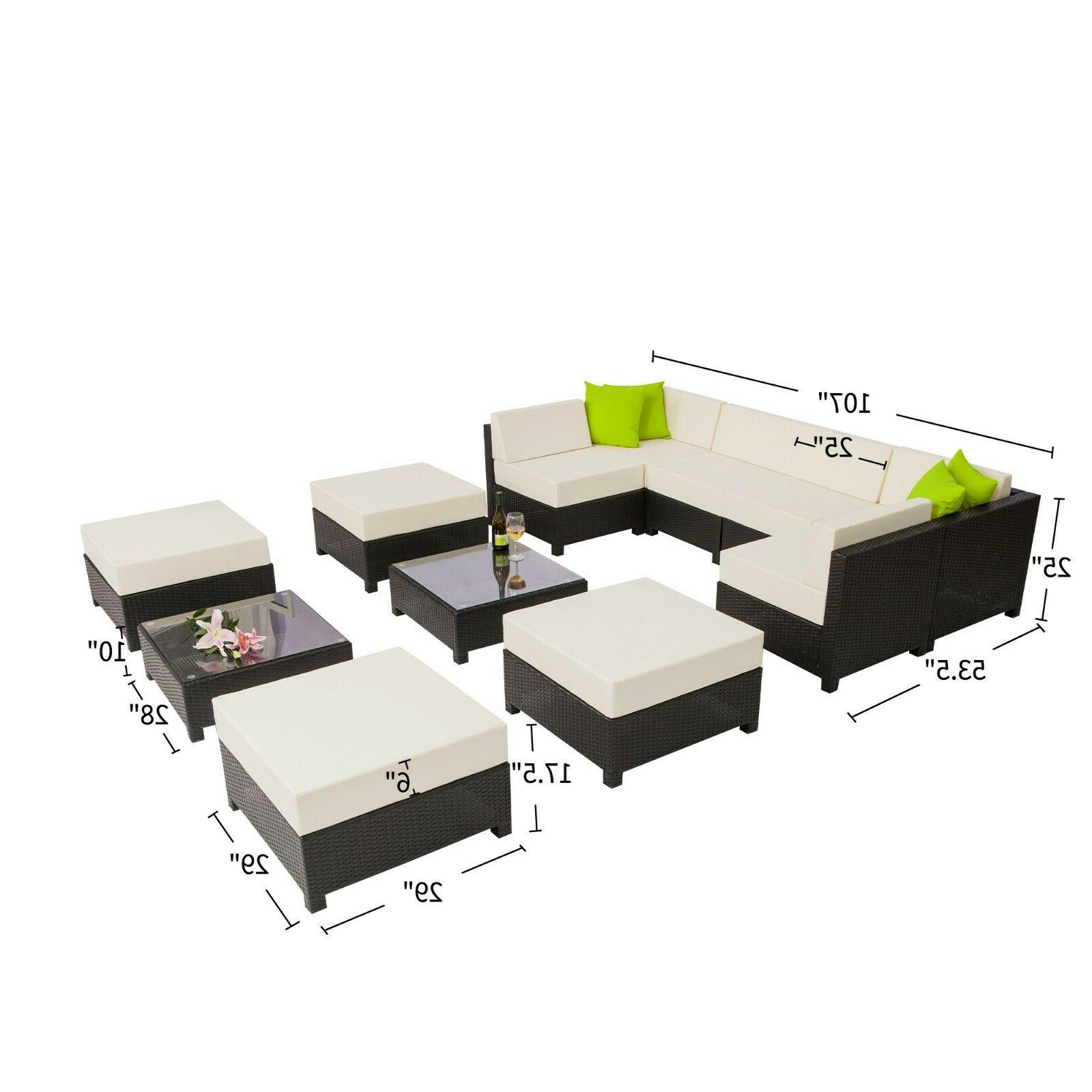 Mcombo Aluminum Black Wicker Sofa Set 1012