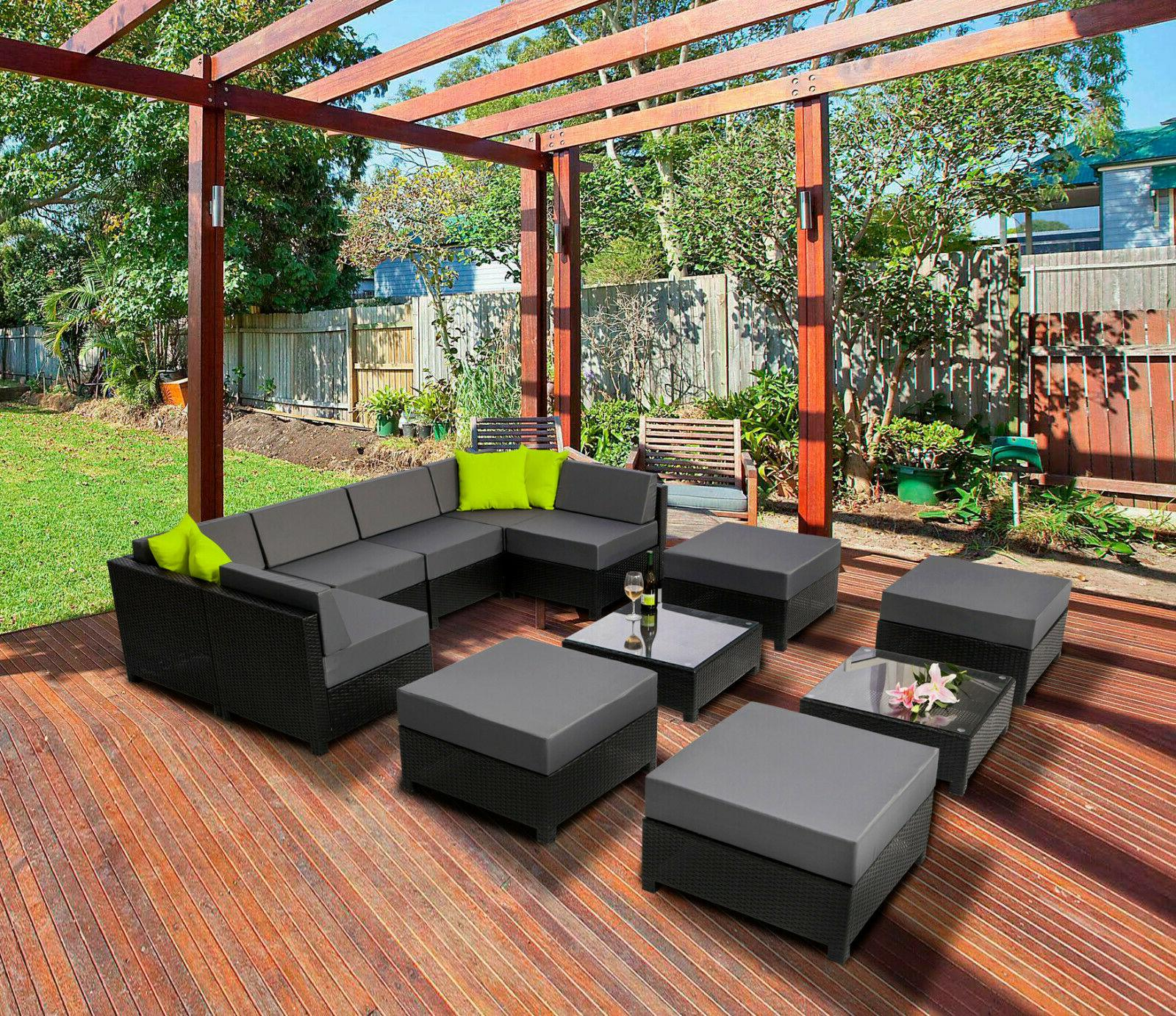 aluminum outdoor patio black wicker furniture sectional