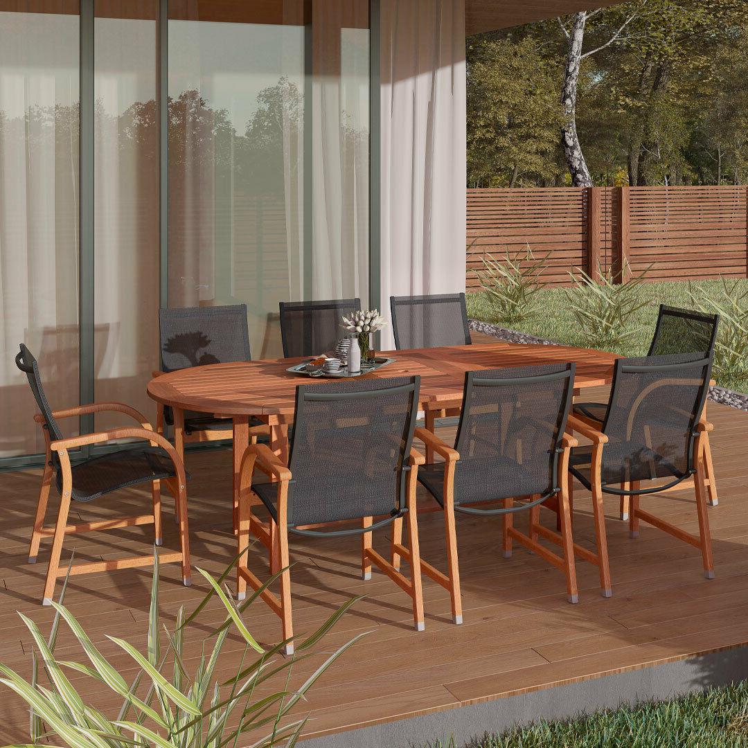 amazonia bahamas 9 piece extandable oval patio