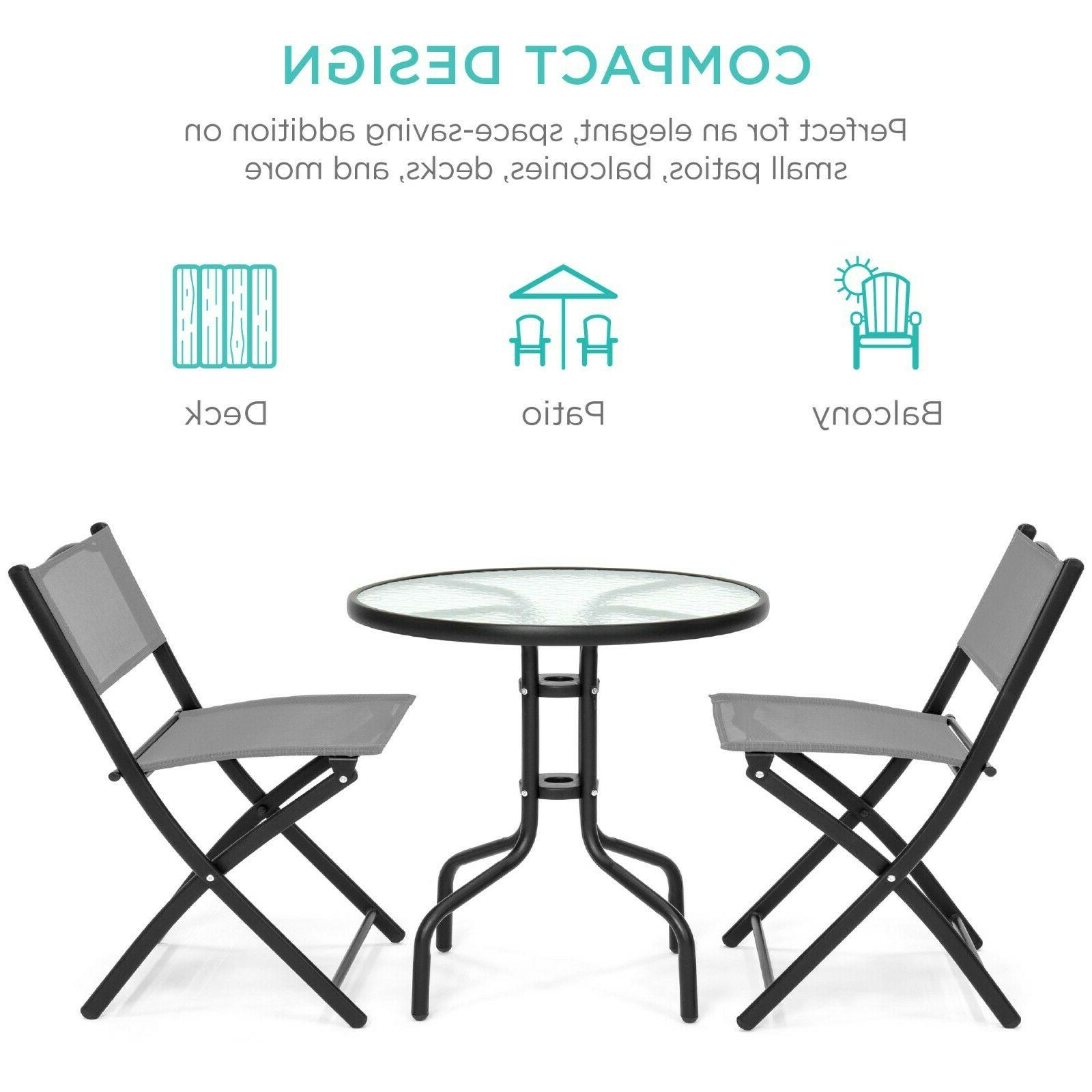 Best Choice Products 3-Piece Patio Set w/ Round Textured