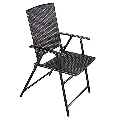 Tangkula Patio Set Outdoor Pool Lawn Portable Wicker Chair Footrest Frame Commercial Foldable Stackable Party Wedding