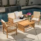 Casual Outdoor Patio Furniture Wood Stained Finish 4-pc Sofa