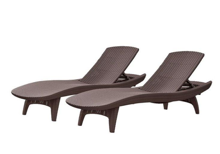 Keter Chaise Pack Brown UV Patio Furniture Pool