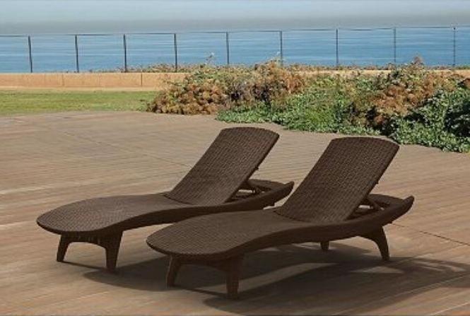 chaise lounge 2 pack brown rattan durable
