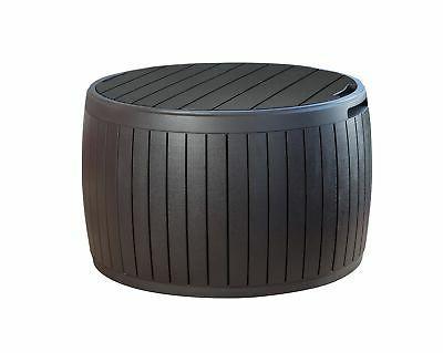 circa wood round storage table
