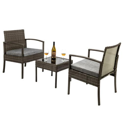Conversation Set Wicker Rattan Furniture Patio Outdoor Cushioned 3 Pieces