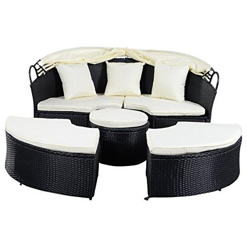 Tangkula Furniture Lawn Poolside Garden Round with Retractable Wicker Rattan Round Daybed, Seating Cushioned