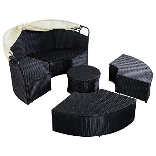 Tangkula Furniture Lawn Garden Round with Retractable Wicker Daybed, Seating Separates