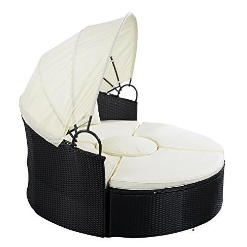 Tangkula Patio Lawn Poolside Round with Retractable Wicker Rattan Seating Separates Seats