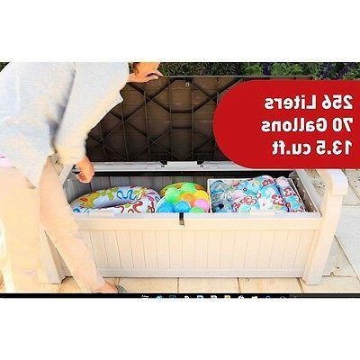 Keter Eden 70 Beige Outdoor Patio Storage Bench Box